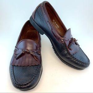 Allen Edmonds Black Tan Trim Nashua Tassel Loafers